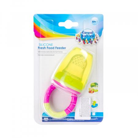 Dispozitiv de hranire pentru introducerea primelor fructe si legume, Canpol babies®, fara BPA, roz/galben3