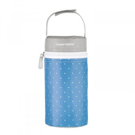 Izolator din material moale pentru biberoane, Canpol babies®, imprimat buline, albastru/gri0