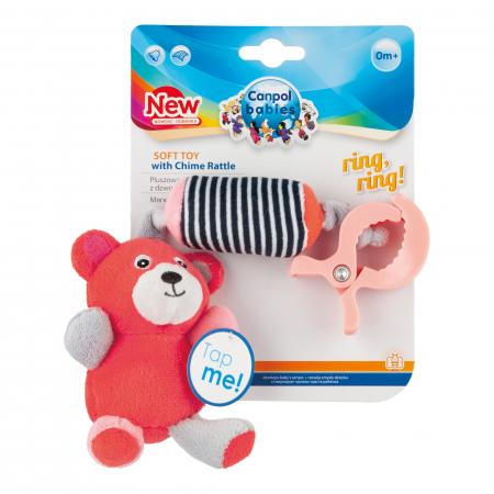 "Jucarie din plus ""Bears"", Canpol babies®, clopotel, rosu coral [1]"