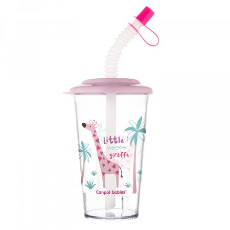 "Pahar cu pai ""Africa"", Canpol babies®, fara BPA, 320 ml, roz [1]"