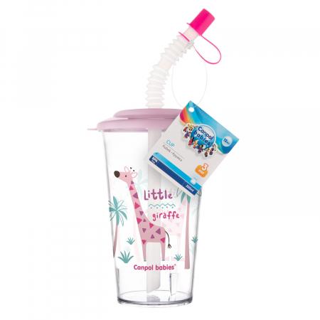"Pahar cu pai ""Africa"", Canpol babies®, fara BPA, 320 ml, roz [2]"