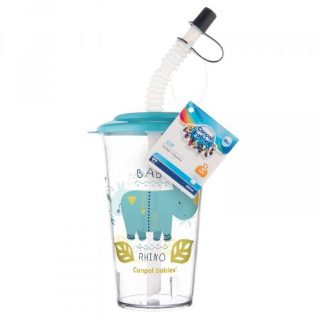 "Pahar cu pai ""Africa"", Canpol babies®, fara BPA, 320 ml, albastru [2]"