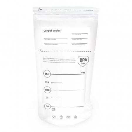 Pungi sterile pentru stocarea laptelui matern, Canpol babies®, 20 buc0