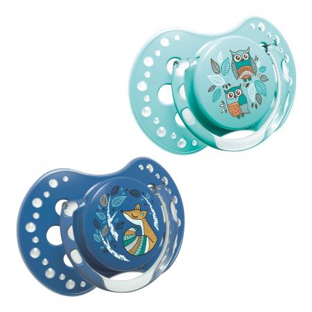 "Set 2 suzete dinamice ""Folky-boy"" cu tetina simetrica silicon, Lovi®, fara BPA, 3-6 luni+, multicolor0"
