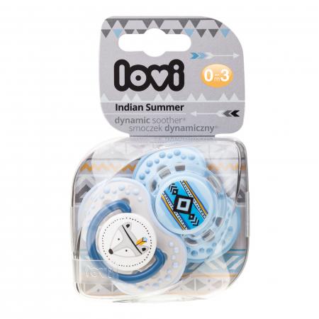 "Set 2 suzete dinamice ""Indian Summer-boy"" cu tetina simetrica silicon, Lovi®, fara BPA, 0-3 luni+, multicolor1"