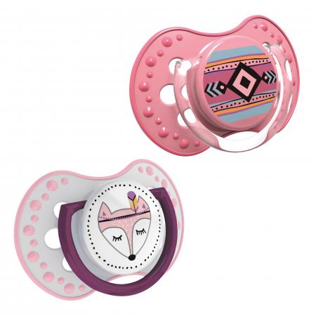 "Set 2 suzete dinamice ""Indian Summer-girl"" cu tetina simetrica silicon, Lovi®, fara BPA, 3-6 luni+, multicolor1"