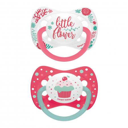 "Set 2 suzete ""Wild Nature + Cupcake"" cu tetina simetrica silicon, Canpol babies®, fara BPA, 0-6 luni, roz [0]"