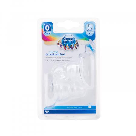 Set 2 tetine ortodontice pentru biberoane cu gat ingust, Canpol Babies®, silicon [0]