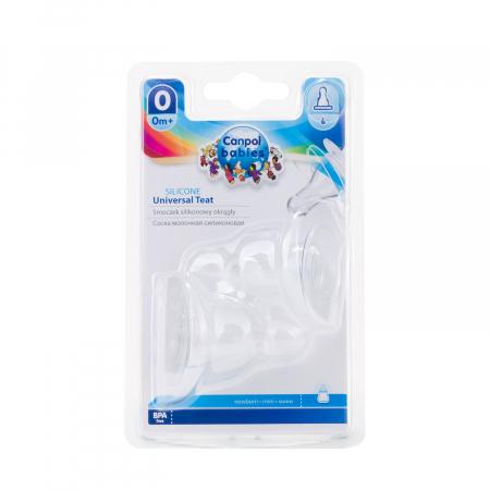 Set 2 tetine universale pentru biberoane cu gat ingust, Canpol Babies®, silicon [0]