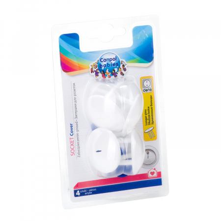 Set 4 protectii de siguranță pentru prize, dinti lungi, alb [4]