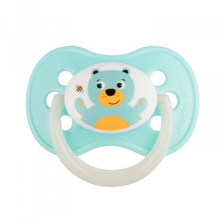 "Suzeta ""Animals"" cu tetina rotunda silicon, Canpol babies®, fara BPA, 0-6 luni, alb [0]"