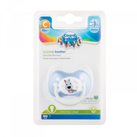 "Suzeta ""Animals"" cu tetina rotunda silicon, Canpol babies®, fara BPA, 18 luni + [2]"