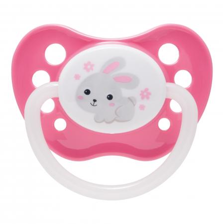 "Suzeta ""Bunny & Company"" cu inel fosforescent si tetina ortodontica silicon, Canpol babies®, fara BPA, 0-6 luni, roz0"