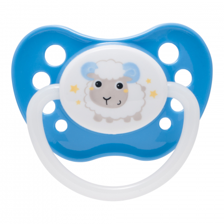 "Suzeta ""Bunny & Company"" cu inel fosforescent si tetina ortodontica silicon, Canpol babies®, fara BPA, 18 luni +, albastru0"
