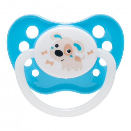 "Suzeta ""Bunny & Company"" cu inel fosforescent si tetina ortodontica silicon, Canpol babies®, fara BPA, 6-18 luni, turcoaz0"
