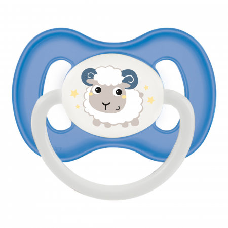 "Suzeta ""Bunny & Company"" cu inel fosforescent si tetina rotunda latex, Canpol babies®, fara BPA, 0-6 luni, albastru [0]"