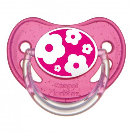 "Suzeta ""Nature"" cu tetina ortodontica silicon, Canpol babies®, fara BPA, 0-6 luni, roz0"