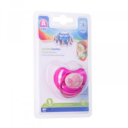 "Suzeta ""Night Dreams"" cu inel fosforescent si tetina ortodontica silicon, Canpol babies®, fara BPA, 0-6 luni, roz [2]"
