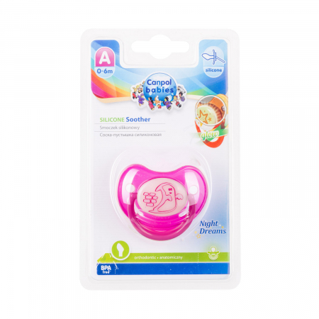"Suzeta ""Night Dreams"" cu inel fosforescent si tetina ortodontica silicon, Canpol babies®, fara BPA, 0-6 luni, roz [3]"