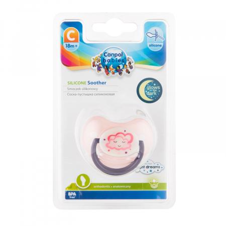 "Suzeta ""Night Dreams"" cu inel fosforescent si tetina ortodontica silicon, Canpol babies®, fara BPA, 18 luni +, roz [2]"