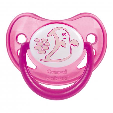 "Suzeta ""Night Dreams"" cu inel fosforescent si tetina ortodontica silicon, Canpol babies®, fara BPA, 6-18 luni, roz0"