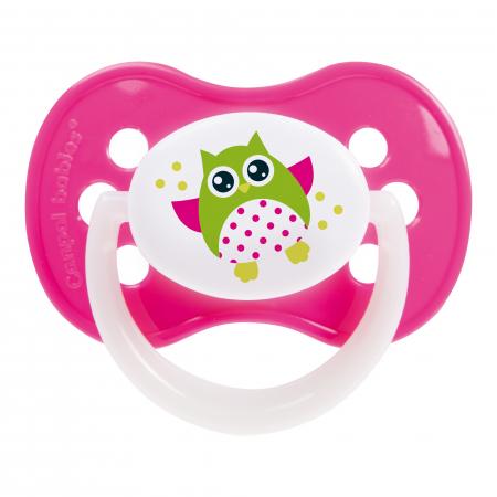 "Suzeta ""Owls"" cu inel fosforescent si tetina simetrica silicon, Canpol babies®, fara BPA, 18 luni +, roz0"