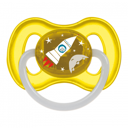 "Suzeta ""Space"" cu inel fosforescent si tetina rotunda latex, Canpol babies®, fara BPA, 0-6 luni, galben [0]"