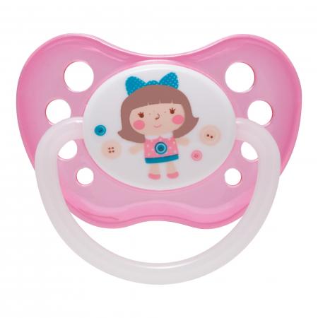 "Suzeta ""Toys"" cu inel fosforescent si tetina ortodontica latex, Canpol babies®, fara BPA, 0-6 luni, roz [0]"