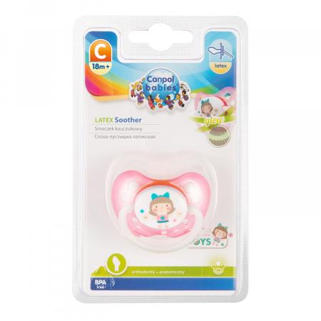 "Suzeta ""Toys"" cu inel fosforescent si tetina ortodontica latex, fara BPA, 18 luni + [2]"