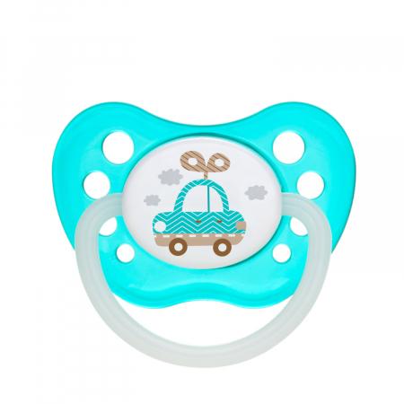 "Suzeta ""Toys"" cu inel fosforescent si tetina ortodontica latex, fara BPA, 6-18 luni [0]"