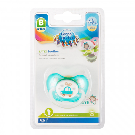 "Suzeta ""Toys"" cu inel fosforescent si tetina ortodontica latex, fara BPA, 6-18 luni [2]"