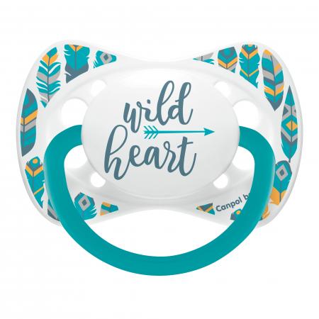 "Suzeta ""Wild Nature"" cu tetina simetrica silicon, Canpol babies®, fara BPA, 6-18 luni, turcoaz0"