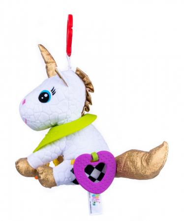 Unicorn Bella, Bali Bazoo, Jucarie din plus cu parti moi inele si fosnaitoare, multicolor2