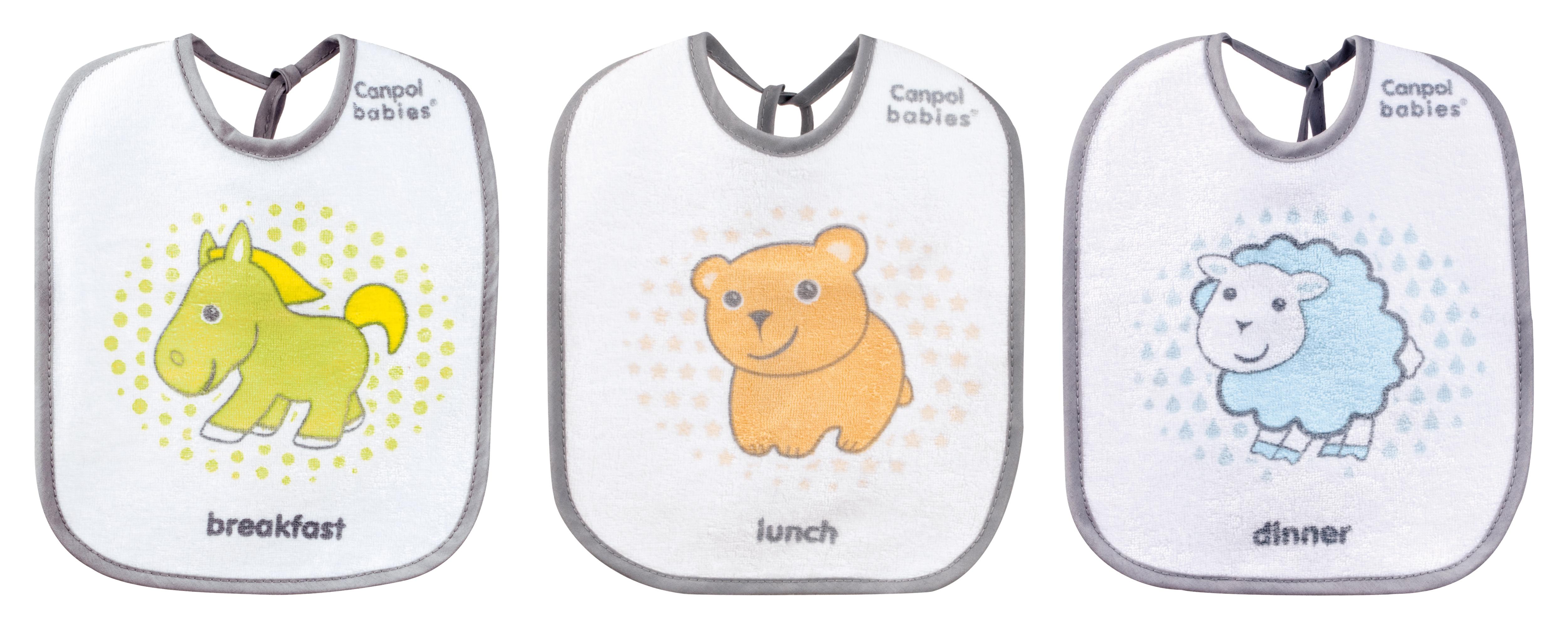 "Set 3 bavete impermeabile ""Transparent"", Canpol babies®, bumbac si poliester, multicolor 0"