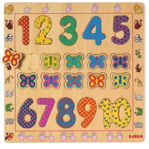 Puzzle din lemn - Cifre 0