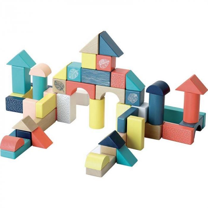 54 cuburi multicolore, din lemn 2