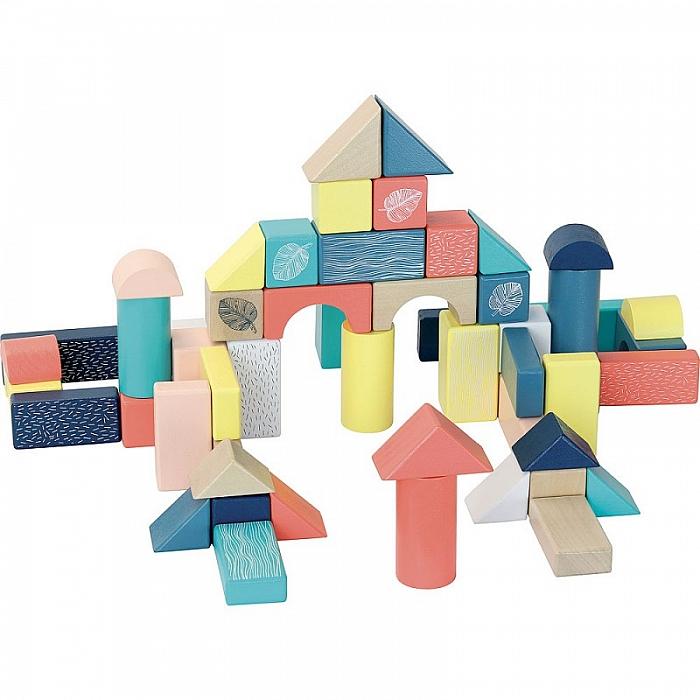 54 cuburi multicolore, din lemn 0