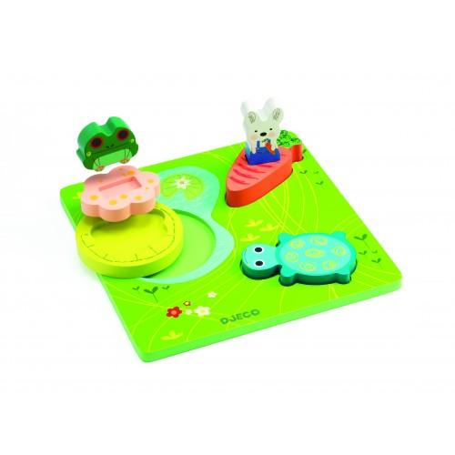 Puzzle relief Djeco 1,2,3 froggy 0