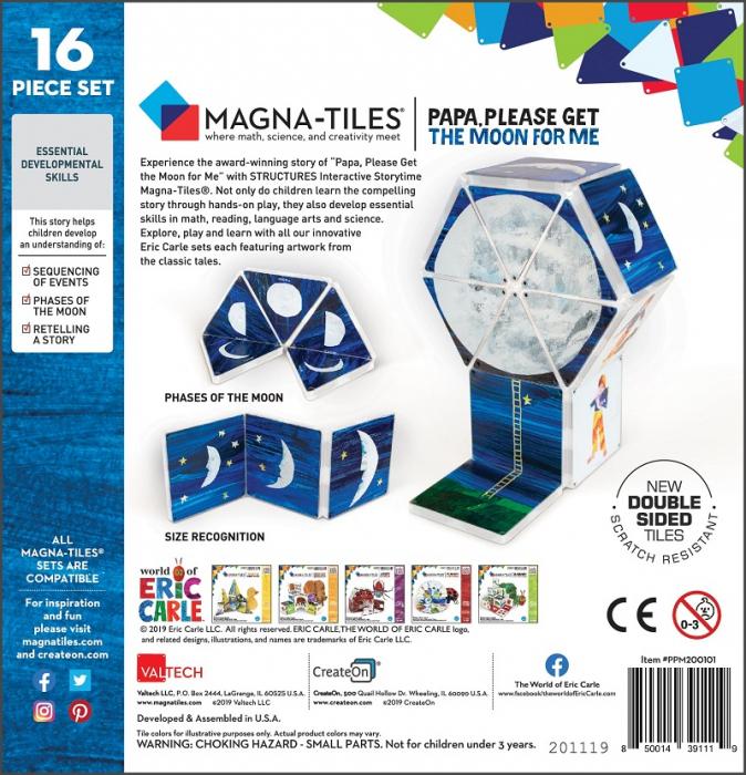 Set de constructie piese magnetice, CreateOn Magna-Tiles -  Tati, te rog, adu-mi luna de pe cer By Eric Carle, 16 piese 5