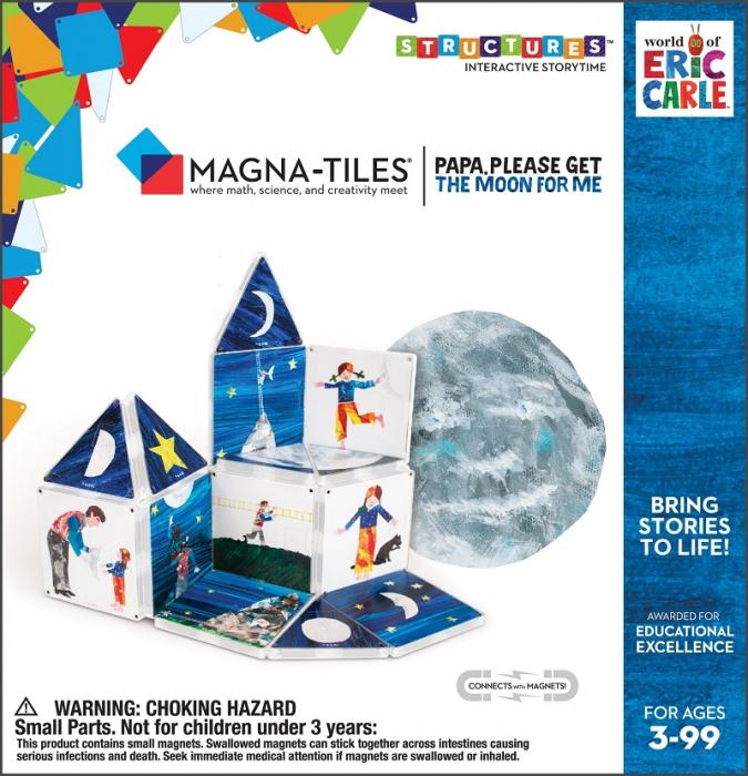 Set de constructie piese magnetice, CreateOn Magna-Tiles -  Tati, te rog, adu-mi luna de pe cer By Eric Carle, 16 piese 2
