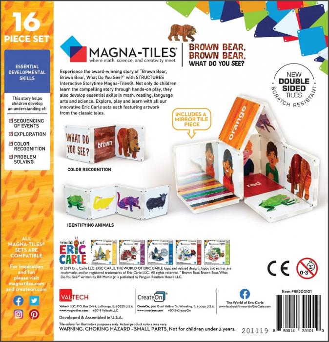 Set de constructie piese magnetice, CreateOn Magna-Tiles -  Ursule brun, ursule brun, tu ce vezi? By Eric Carle, 16 piese 1