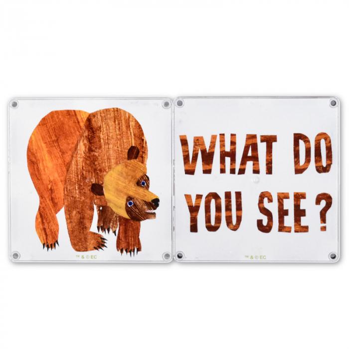 Set de constructie piese magnetice, CreateOn Magna-Tiles -  Ursule brun, ursule brun, tu ce vezi? By Eric Carle, 16 piese 2