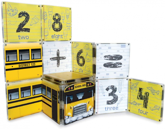 Set de constructie piese magnetice Autobuzul scolar 123 CreateOn Magna-Tiles - Set 16 piese magnetice [4]
