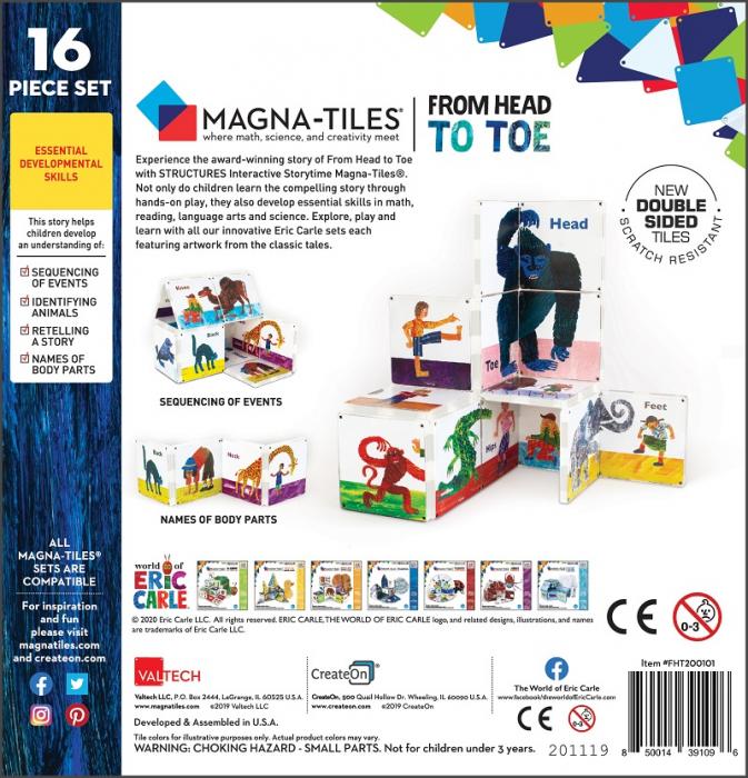 Set de constructie piese magnetice, CreateOn Magna-Tiles -  Din cap pana in picioare By Eric Carle, 16 piese 15