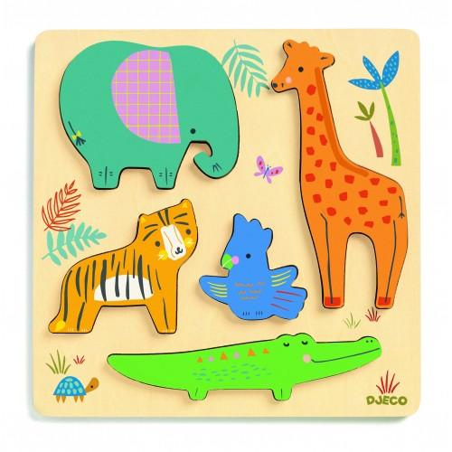 Puzzle lemn animale salbatice 0