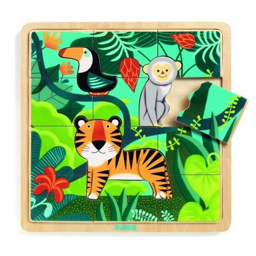 Puzzle incastru de lemn - Jungla animalelor 0