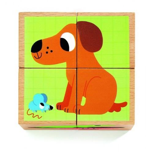 Cuburi din lemn - Animale nostime 0