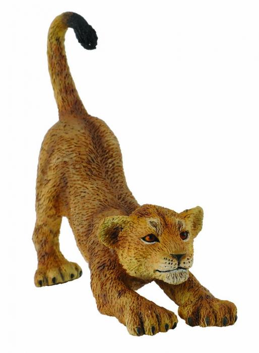 Pui de leu care se intinde S - Animal figurina 0