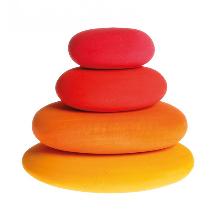 Forme in echilibru oval nuante de rosu 0