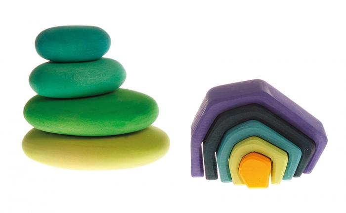 Forme in echilibru oval nuante de verde 4